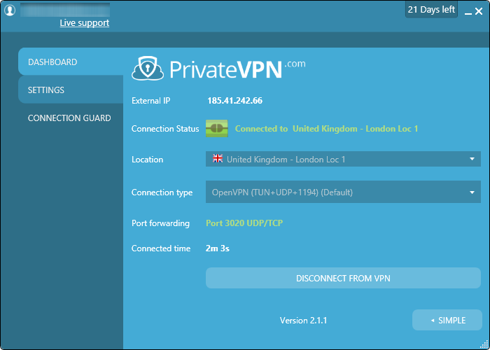 PrivateVPN software
